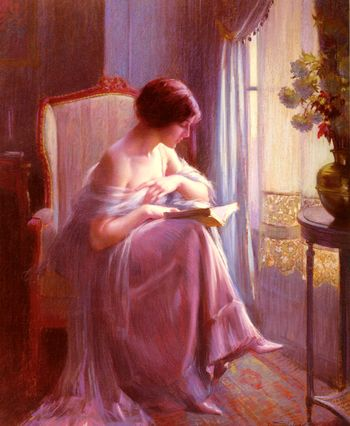 Aquietsunday:%0A%0AYoung Woman Reading by a Window by Delphin Enjorlas
