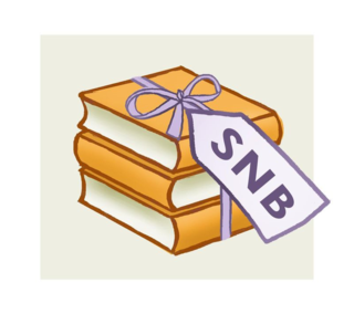 Shiny New Books logo: old gold books tied with violet ribbon