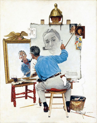 The Norman-Rockwell-Triple-Self-Portrait-1960