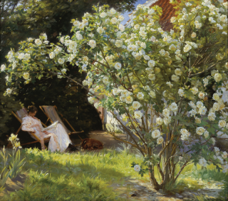 P.S._Krøyer_-_Roses._Marie_Krøyer_seated_in_the_deckchair_in_the_garden_by_Mrs_Bendsen's_house_-_Google_Art_Project